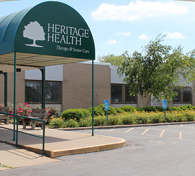 An entrance to a Heritage Health senior care facility. Heritage is now offering its employees instant access to earned wages through DailyPay, a pay day app for flexible payments.
