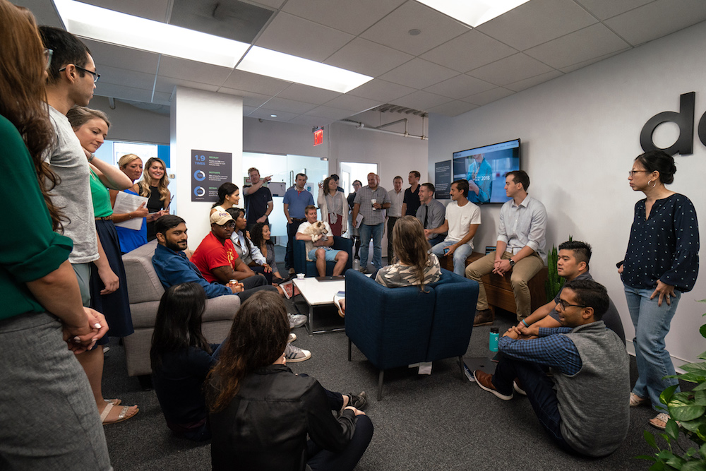 An image of the DailyPay team in the New York office. We need more space!