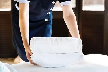 An image of hotel housekeeping. Housekeeping employees have a higher turnover rates than many other hotel employees.